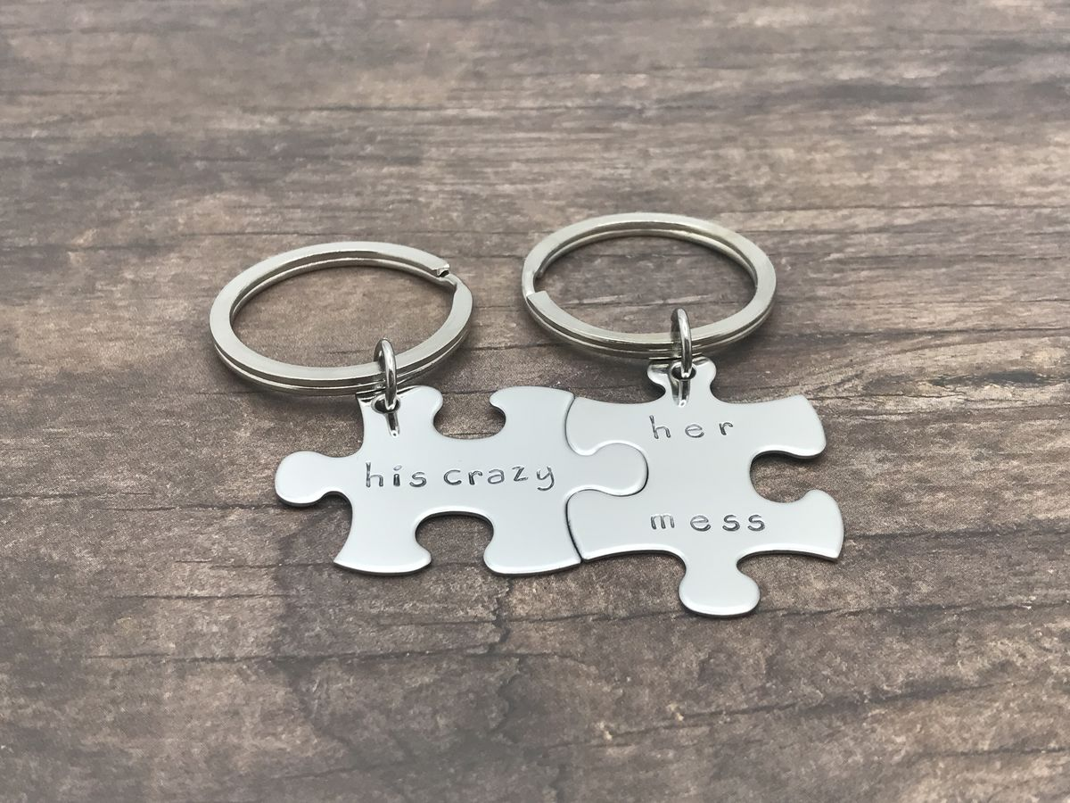 His Crazy Her Mess, Couples Puzzle Piece Keychain Set - product image