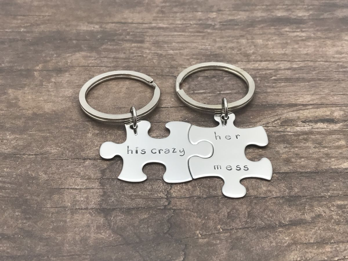 His Crazy Her Mess, Couples Puzzle Piece Keychain Set - product images  of
