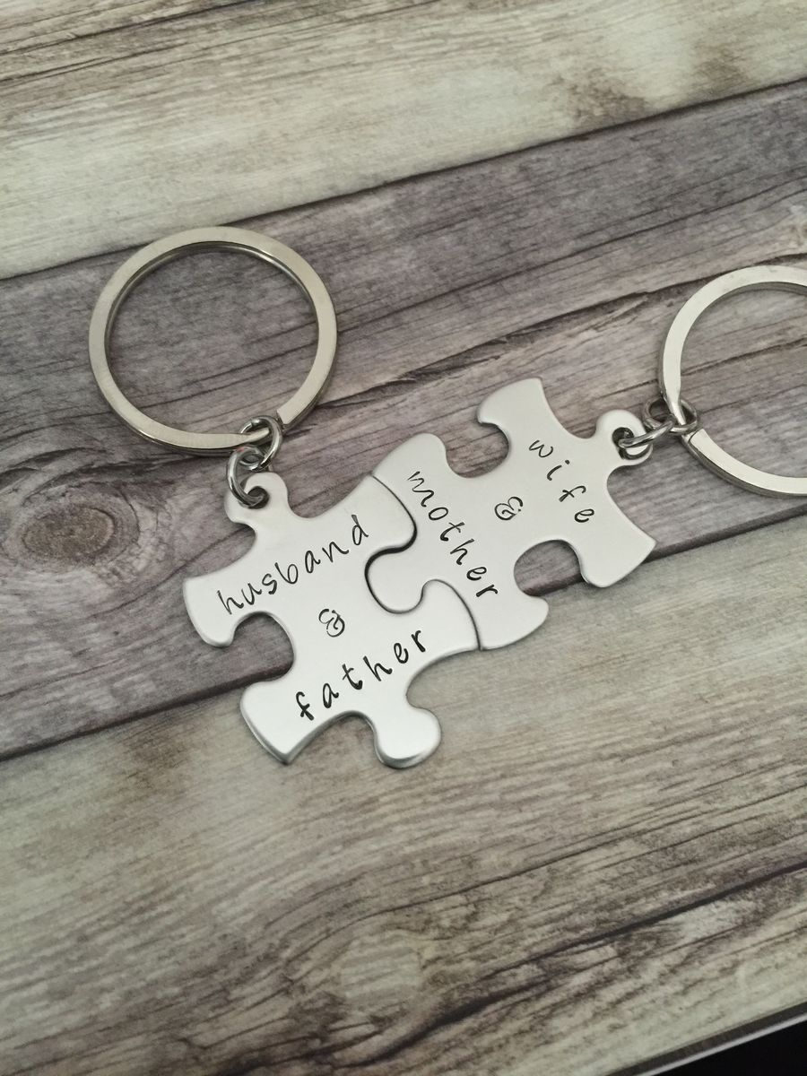 Wife and Mother Husband and Father Keychains, Puzzle keychains for loving parents and spouses, Anniversary gift - product images  of