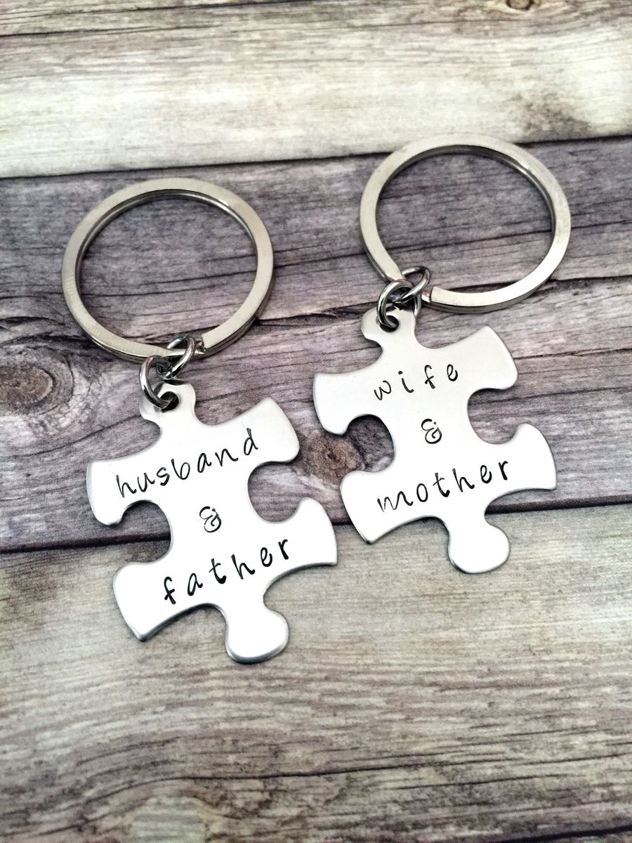 Wife and Mother Husband and Father Keychains, Puzzle keychains for loving parents and spouses, Anniversary gift - product image