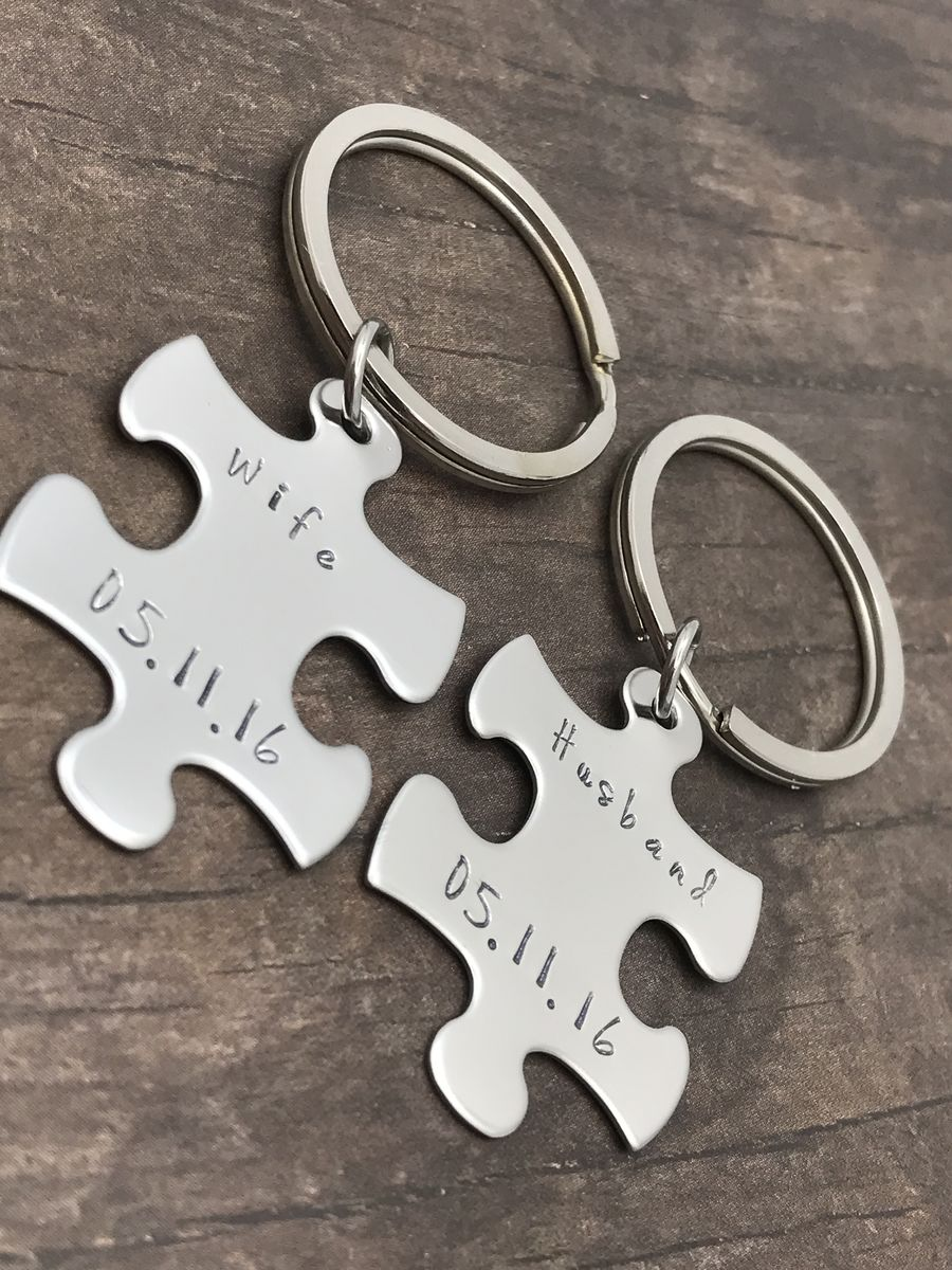Husband Wife Keychains, Custom Date Keychains, Couples Gift - product images  of