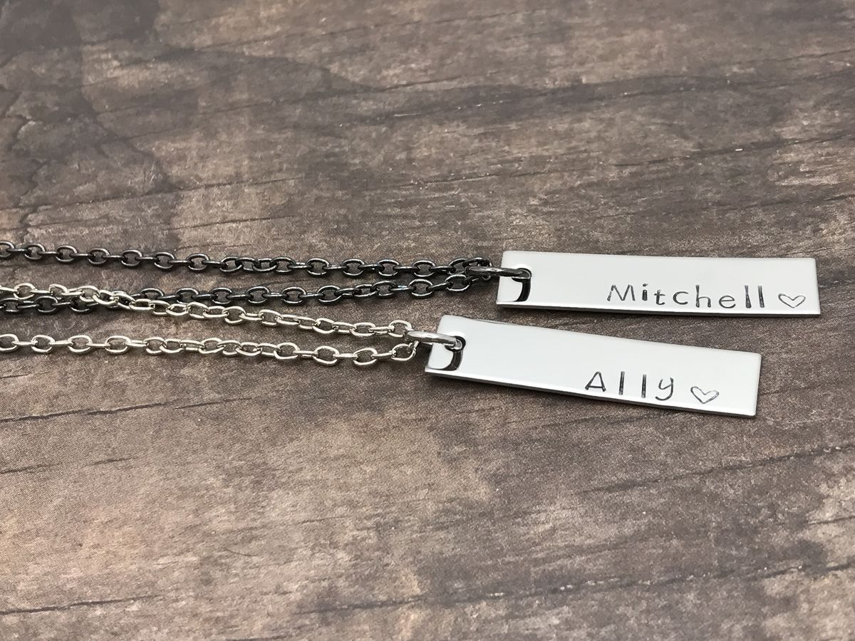 Set of Couples Bar Necklace, Silver and Black Chain Necklace, Boyfriend Girlfriend Gift - product images  of