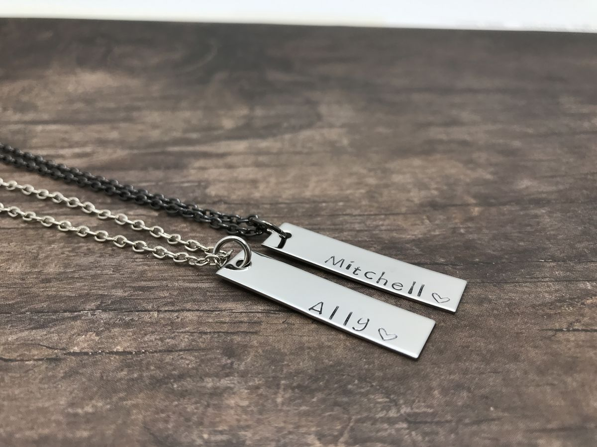 Set of Couples Bar Necklace, Silver and Black Chain Necklace, Boyfriend Girlfriend Gift - product image