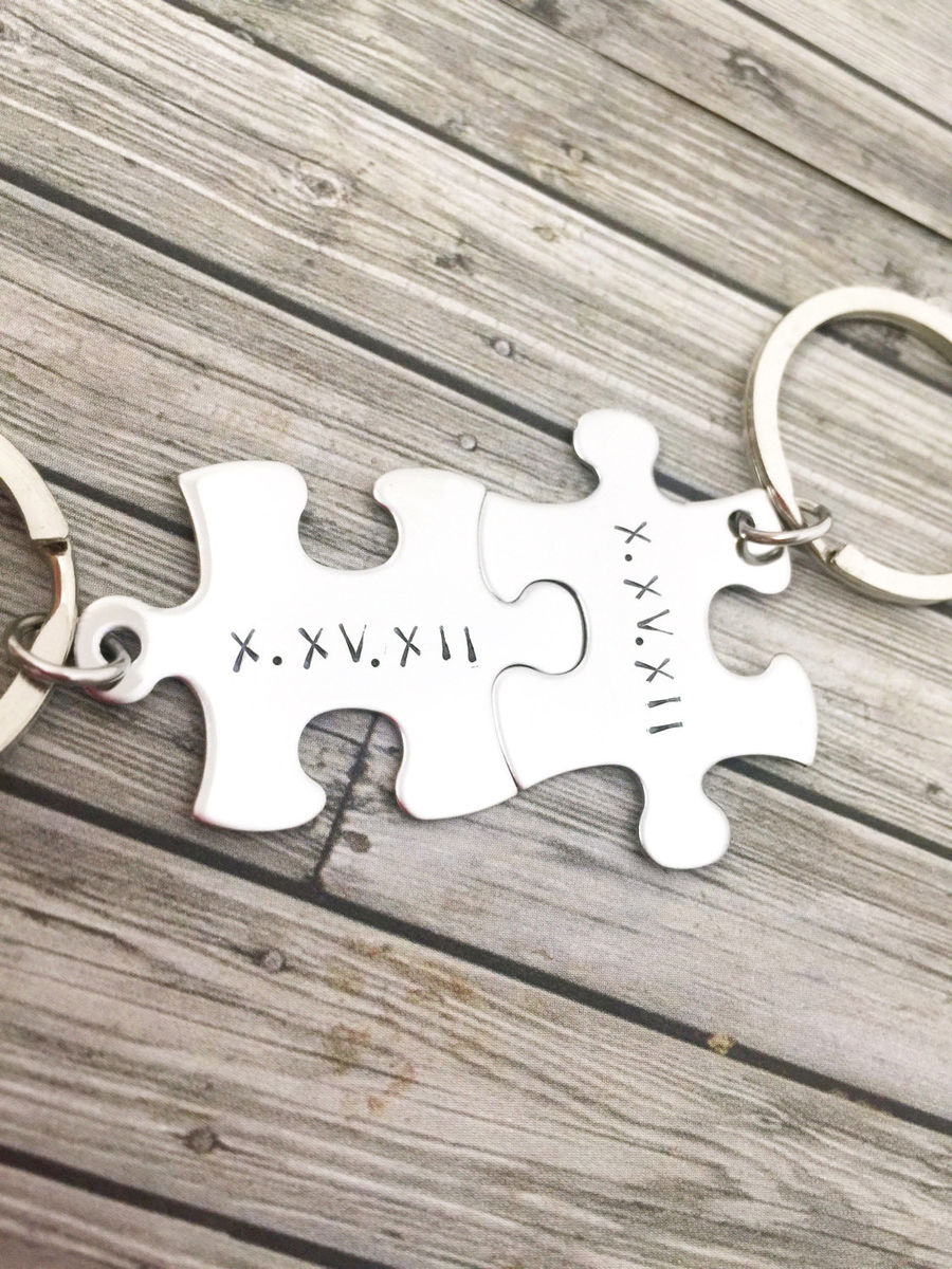 Roman Numeral Date Puzzle Keychains, Wedding or Anniversary Gift - product images  of