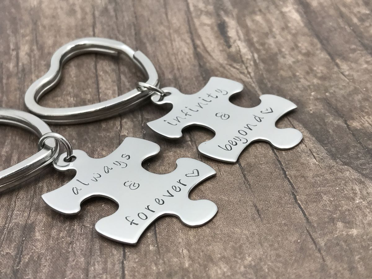 Always and Forever, Infinity and Beyond Couples Keychains, Heart Key Rings - product images  of