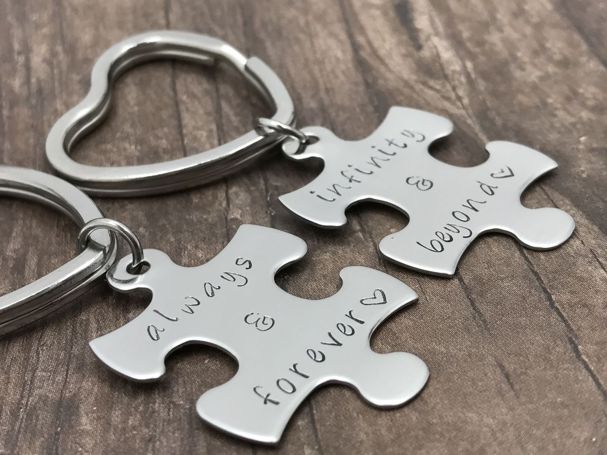 Always and Forever, Infinity and Beyond Couples Keychains, Heart Key Rings - product image