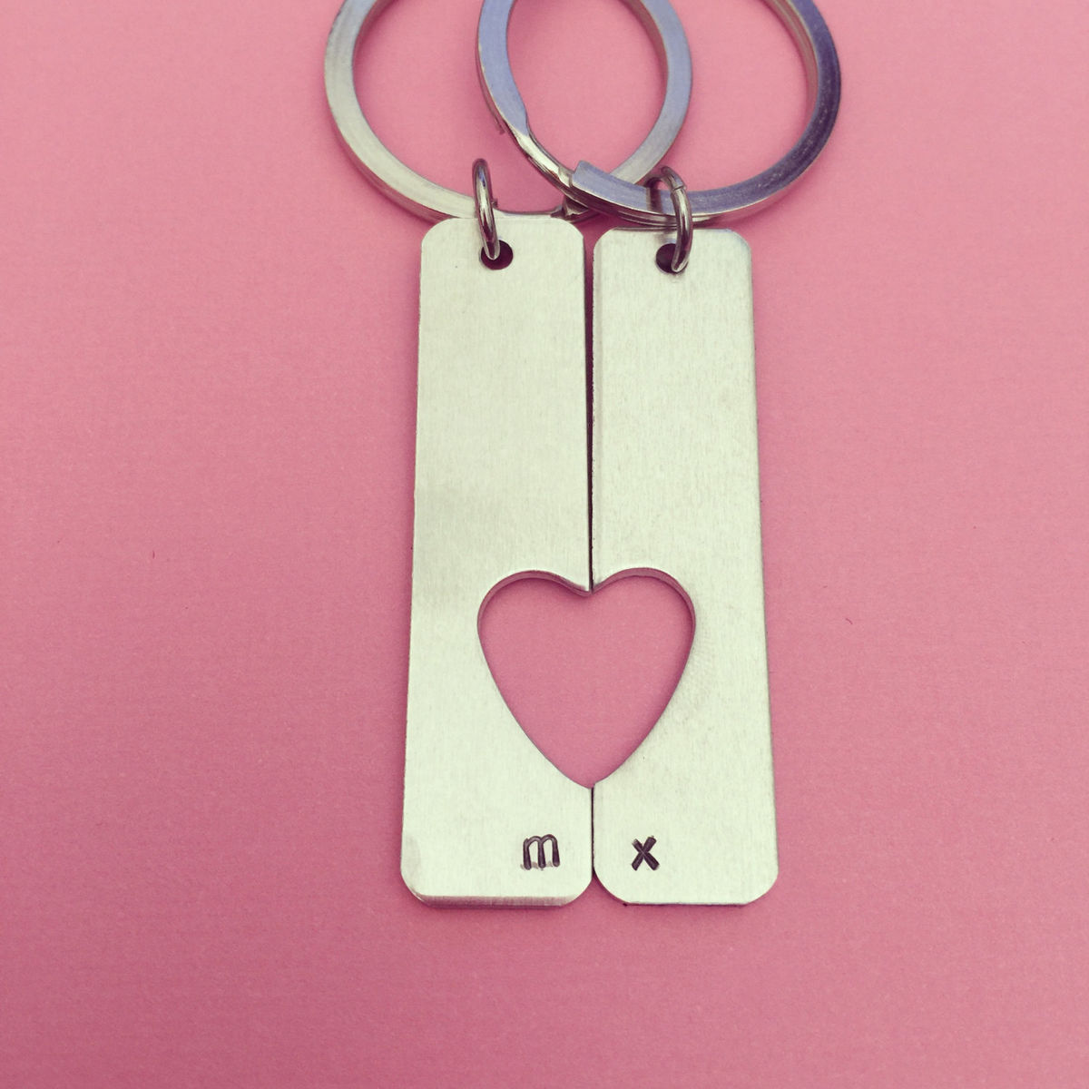 Heart Cut Out Aluminum Bar Keychains, Personalized couples keychains - product image