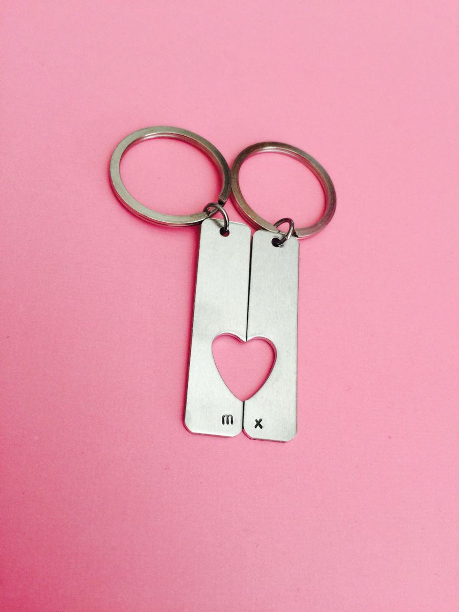 Heart Cut Out Aluminum Bar Keychains, Personalized couples keychains - product images  of