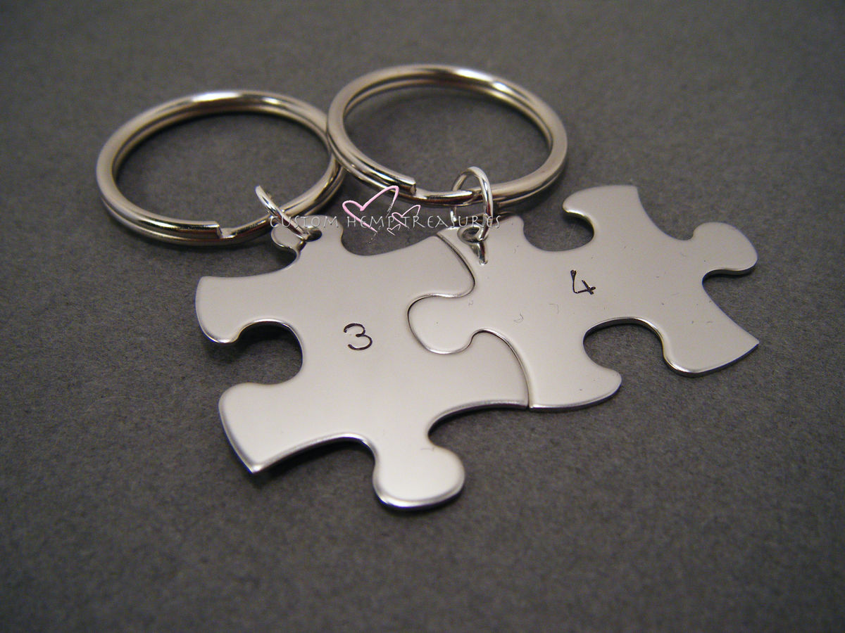 Number Keychains, Puzzle Piece Keychain Set with custom number stamps - product image