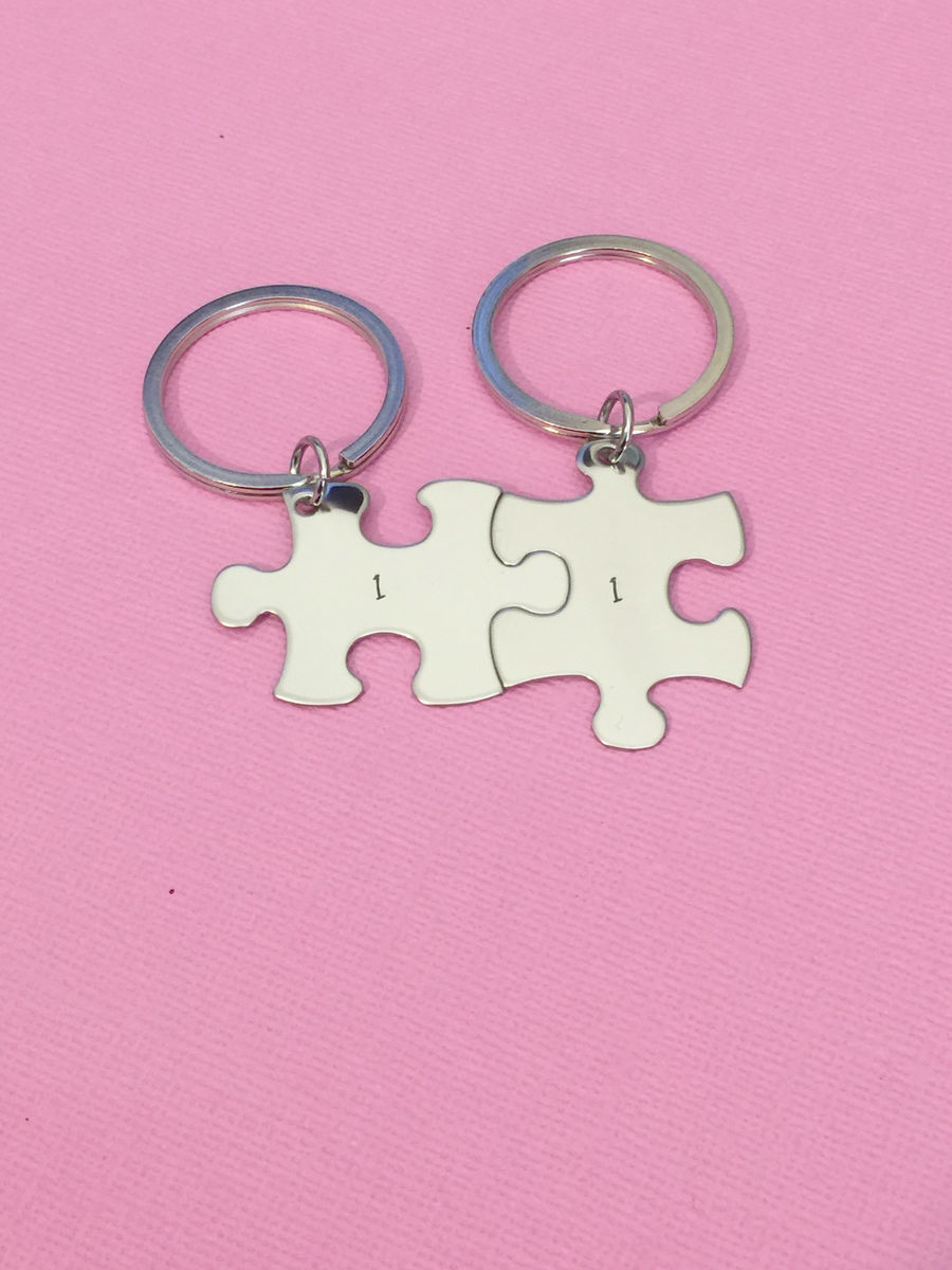 Number Keychains, Puzzle Piece Keychain Set with custom number stamps - product images  of