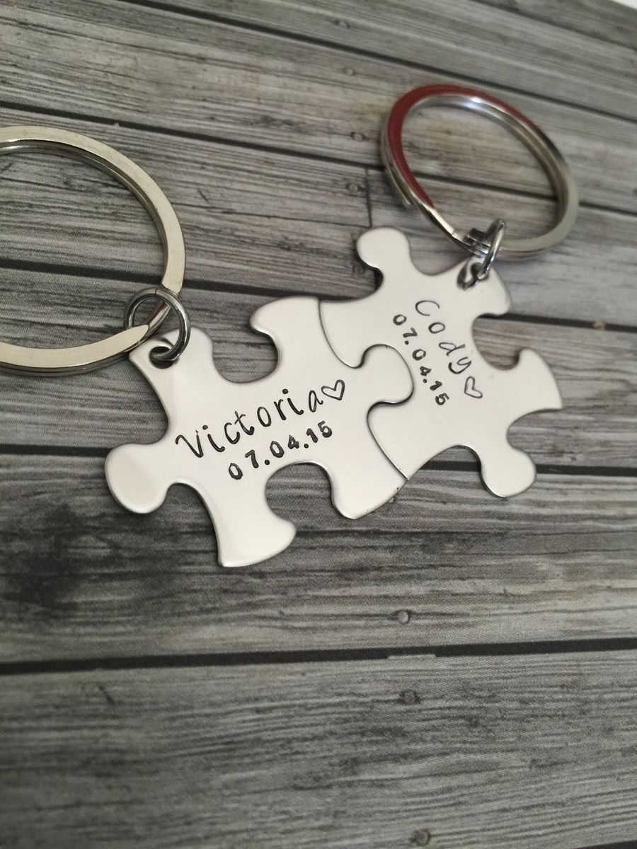 Puzzle Name Keychains with small Date, Couples Keychains - product images  of