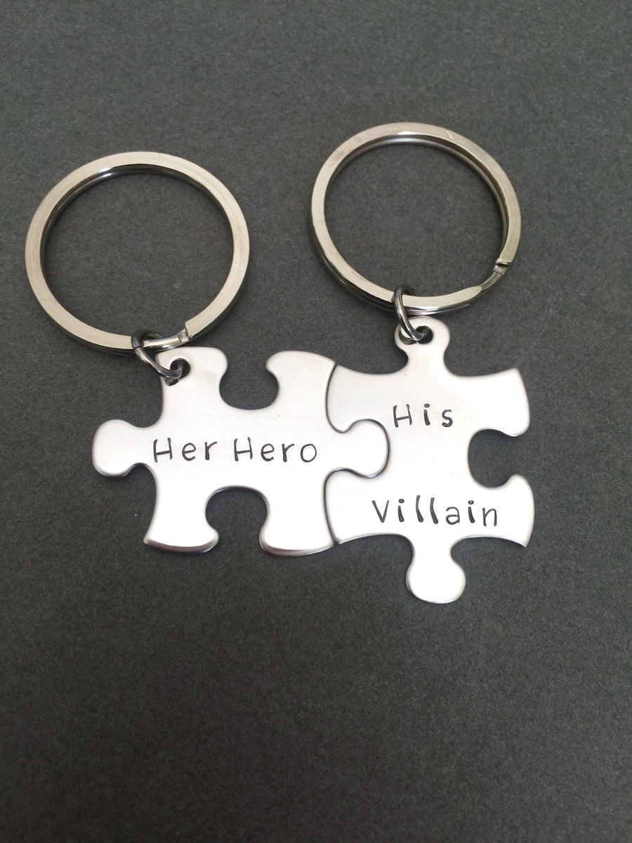 Her Hero His Villain Couples Keychains, Puzzle Piece Keychain set for couples - product image