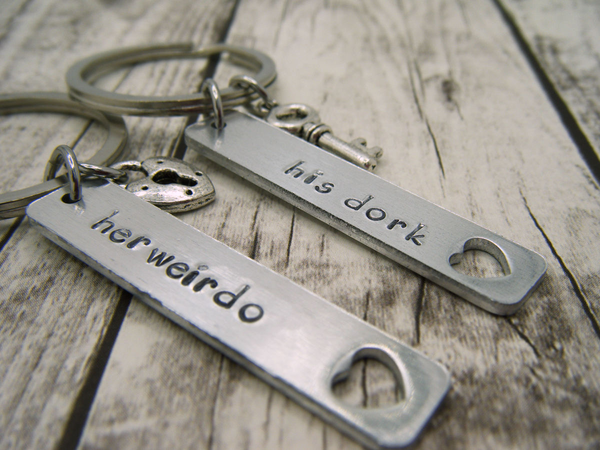 his dork her weirdo aluminum keychains, double sided couples keychains, lock key charms - product images  of