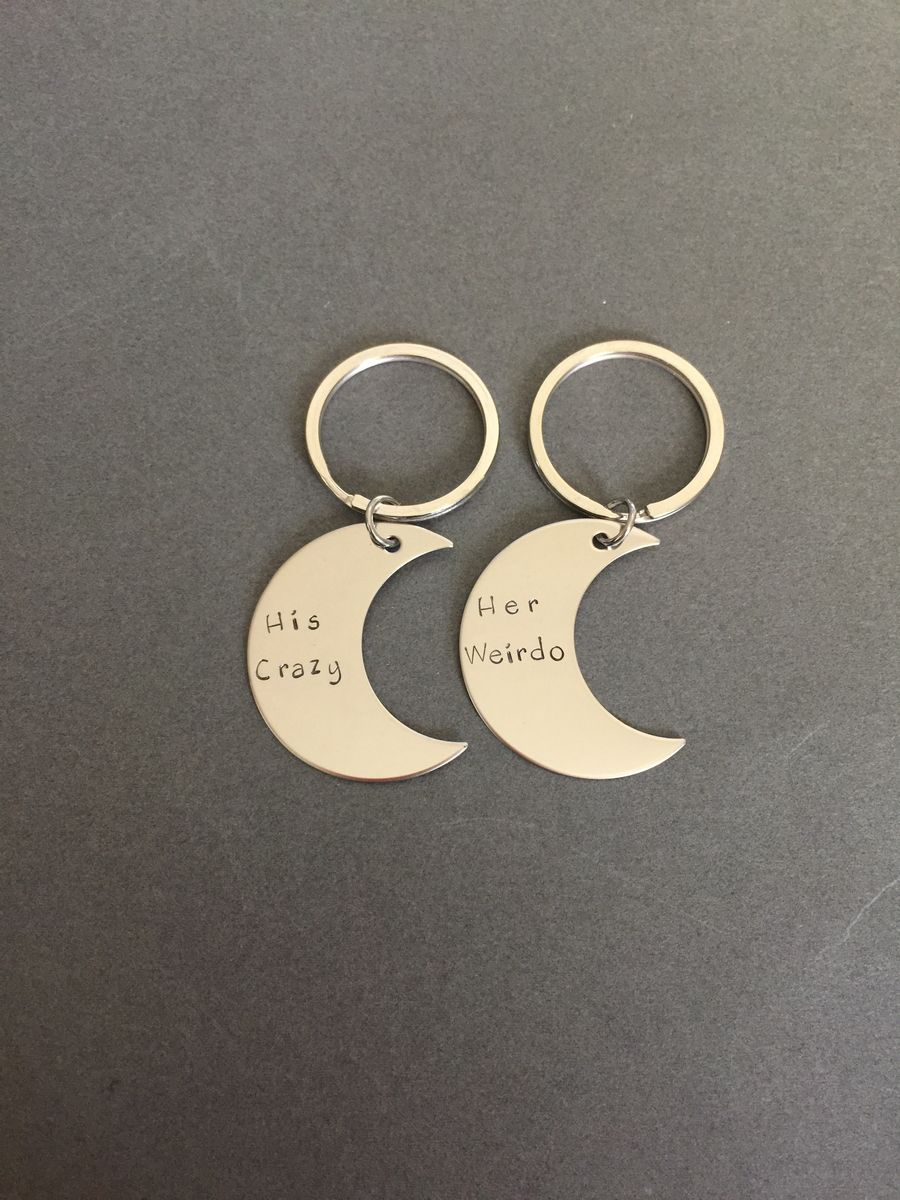 Moon Keychains, His Crazy Her Weirdo Couples Keychains - product images  of