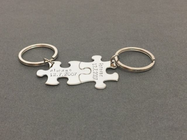 Always Forever Date Puzzle Piece Keychains, Personalized Couples Gift - product images  of