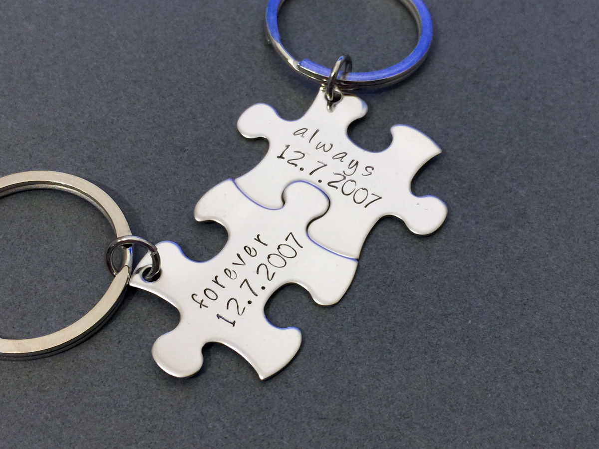 Always Forever Date Puzzle Piece Keychains, Personalized Couples Gift - product image