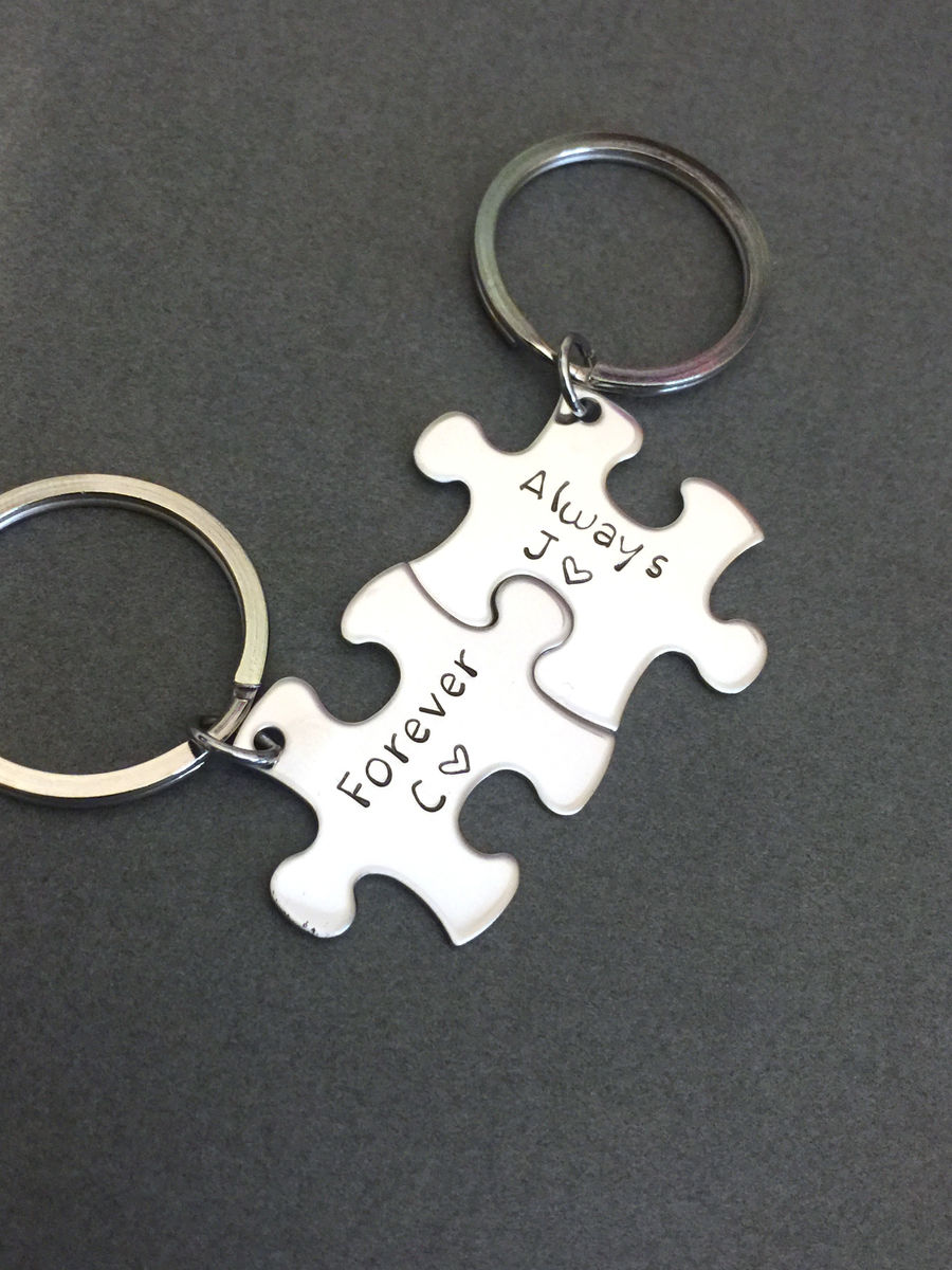 Always Forever Keychains with Initials, Personalized Puzzle Keychains, Best Seller - product image