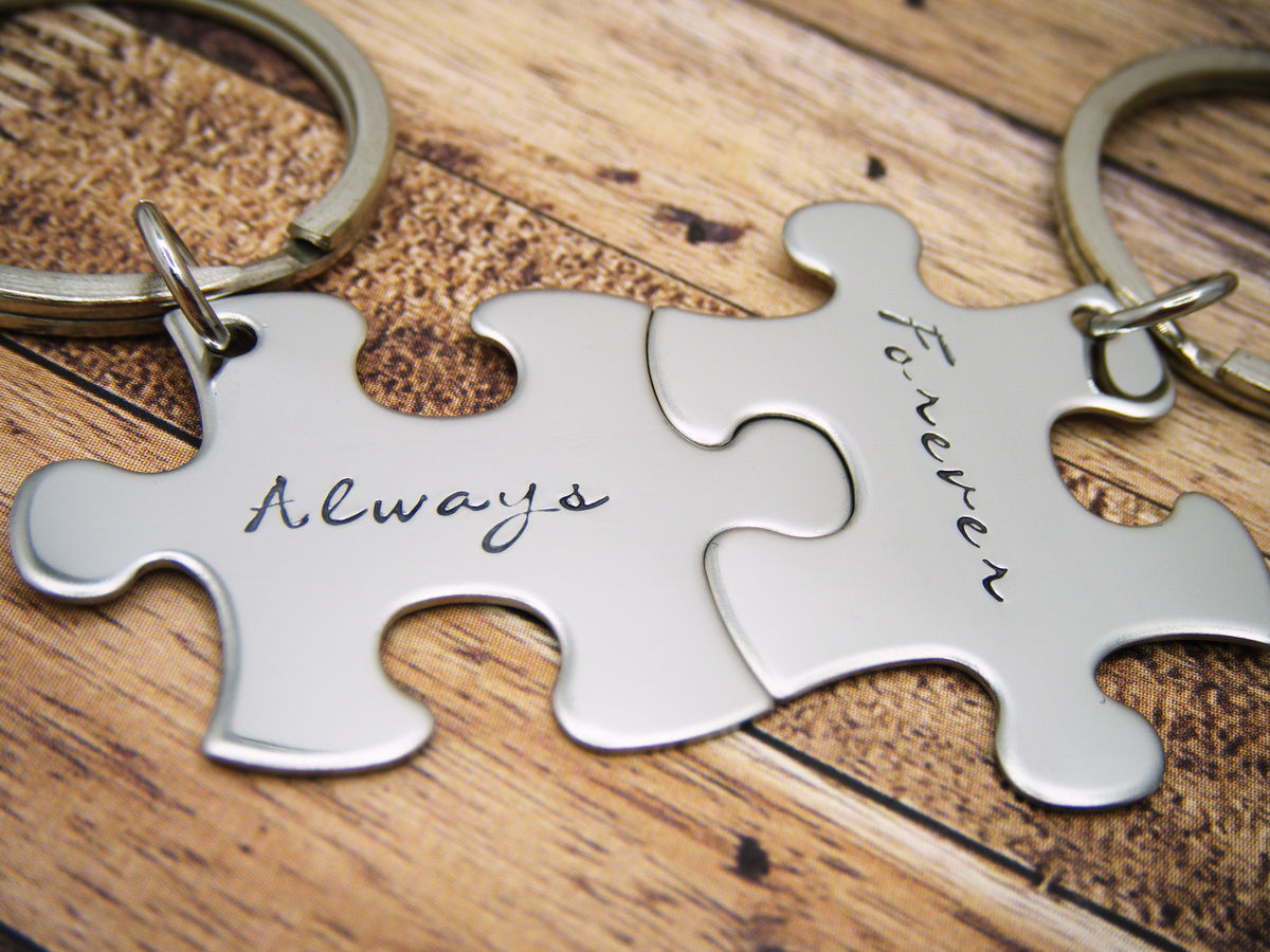Always Forever Puzzle Keychains, couples keychains - product images  of