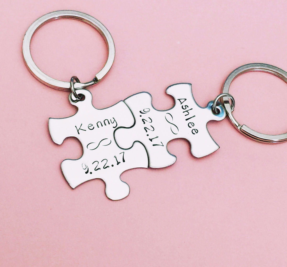 Infinity Keychains with Personalized name and dates, Puzzle Keychain set for Couples - product image