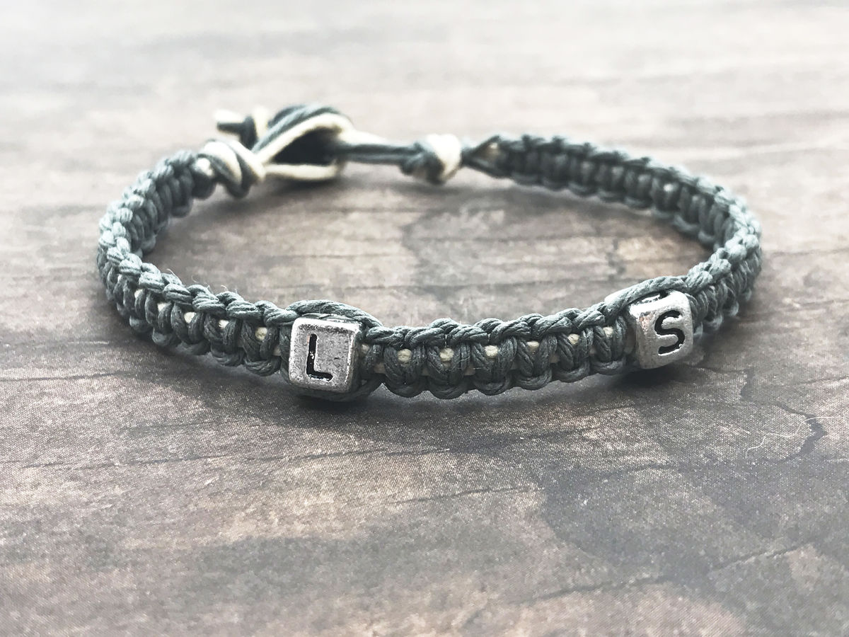 Personalized Hemp Bracelet, Custom Bracelet with Letter Bead - product images  of