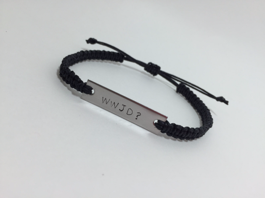 WWJD Engraved Bracelet made of stainless steel and cotton Cord - product images  of