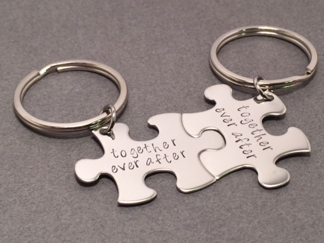 Together ever after, couples keychains, puzzle piece keychain set - product images  of