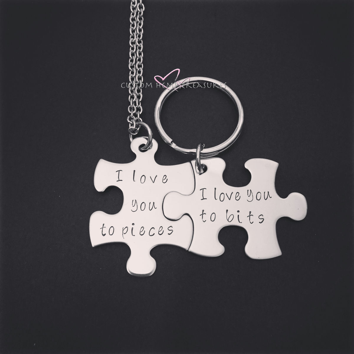 Necklace Keychain Set, I love you to pieces, i love you to bits - product images  of