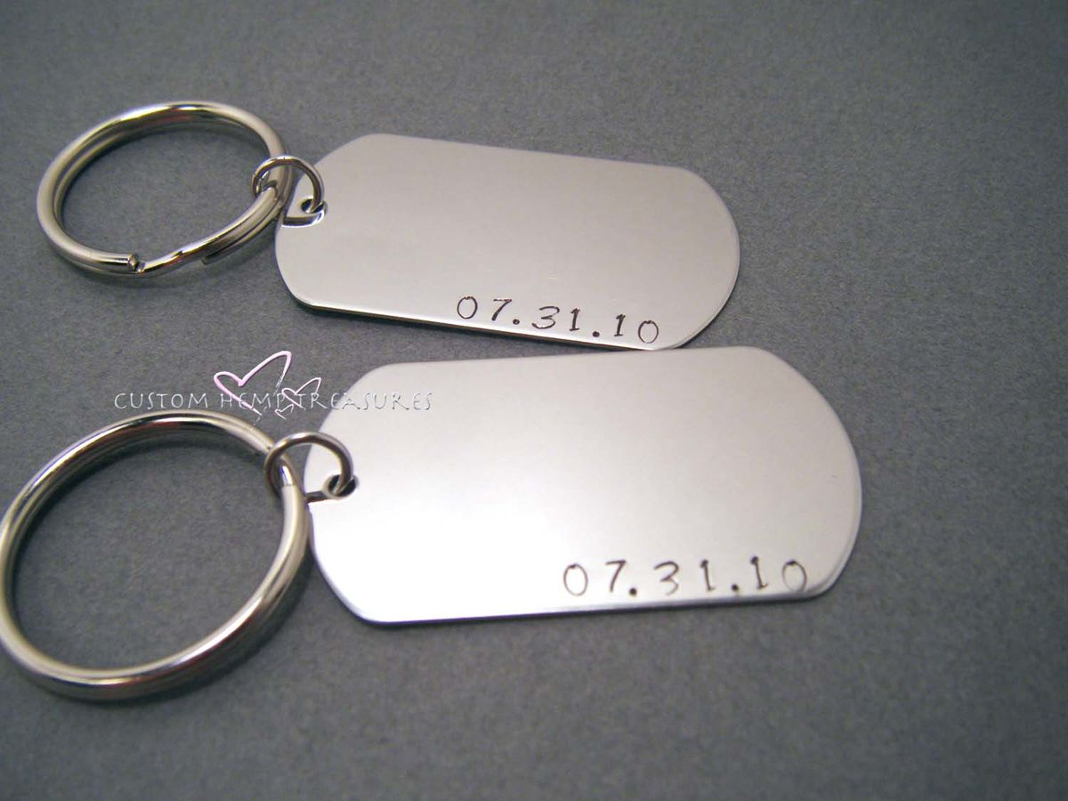 Set of Couples Dog Tag Keychains Fully Customizable - product image