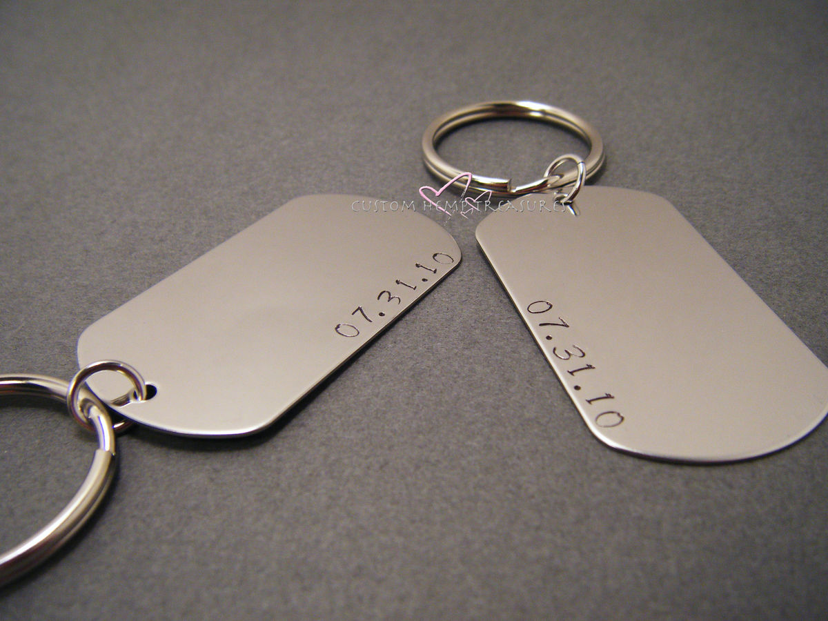 Set of Couples Dog Tag Keychains Fully Customizable - product images  of