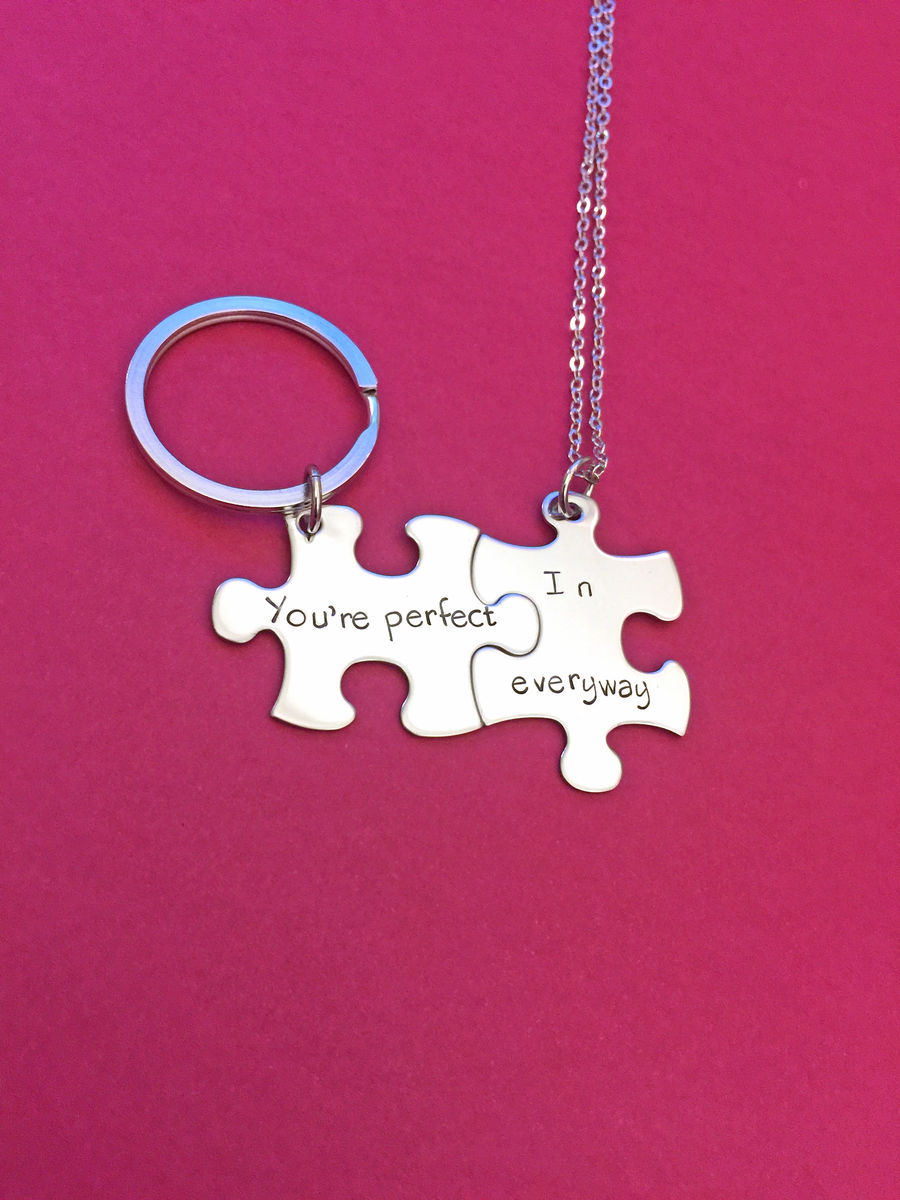 You're perfect in every way Necklace keychain set for couples - product image
