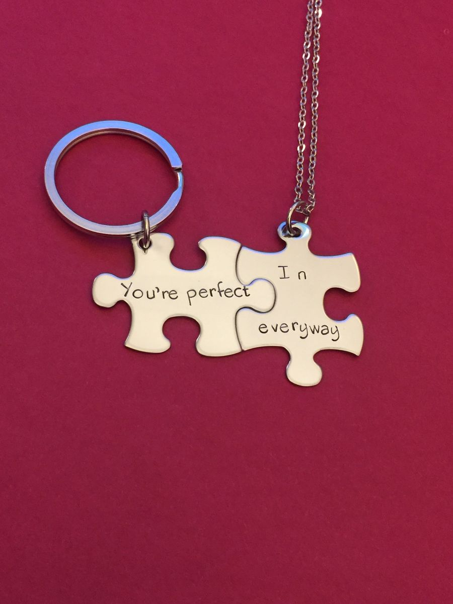 You're perfect in every way Necklace keychain set for couples - product images  of