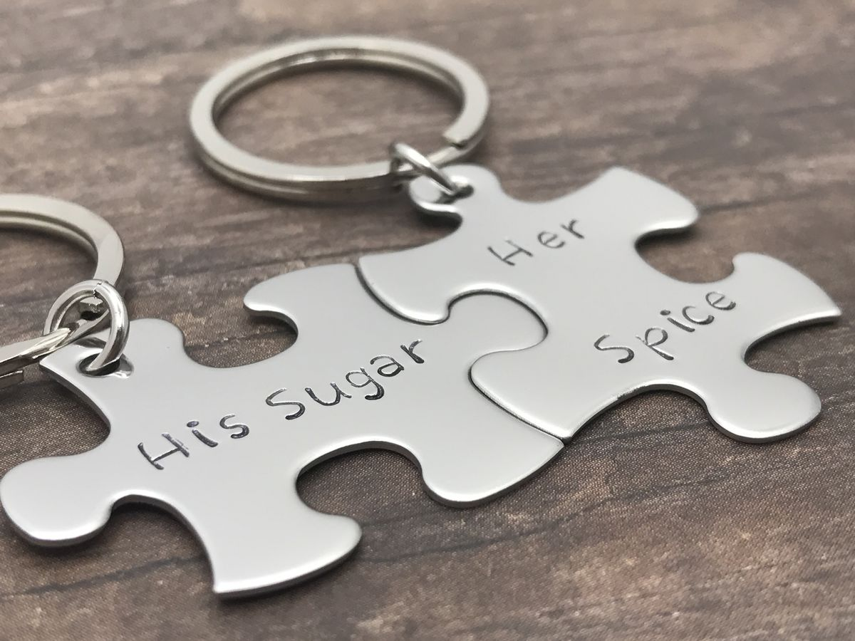 His Sugar Her Spice Puzzle Piece Keychain Set for Couples - product image