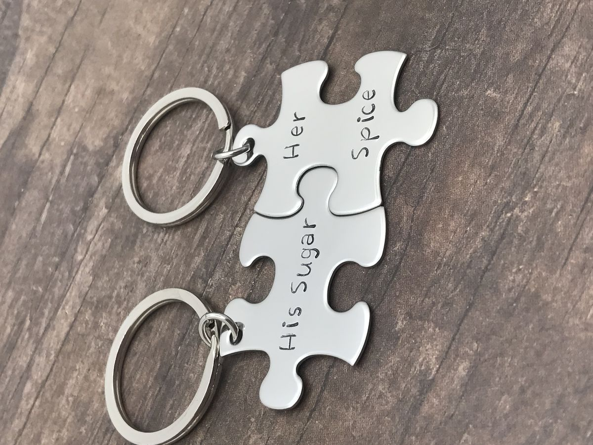 His Sugar Her Spice Puzzle Piece Keychain Set for Couples - product images  of