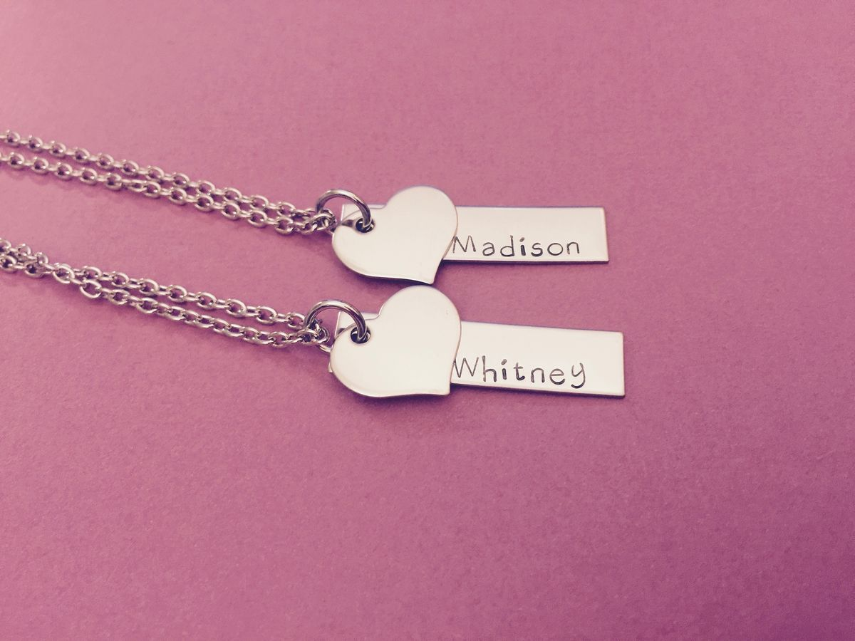 Bar Necklaces with Heart charm Add on, Set of Necklaces for Best Friends or Sisters - product images  of