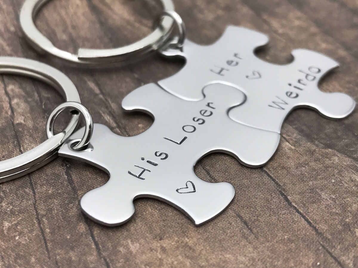 His Loser Her Weirdo Puzzle Piece Keychain Set for Couples, Great Boyfriend Girlfriend Gift - product images  of