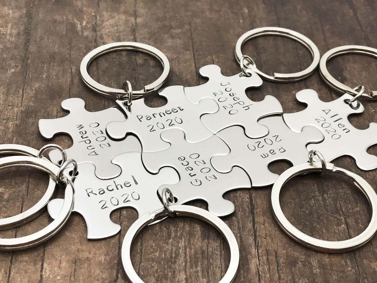 7 Custom Puzzle Piece Keychains, name date keychains - product images  of
