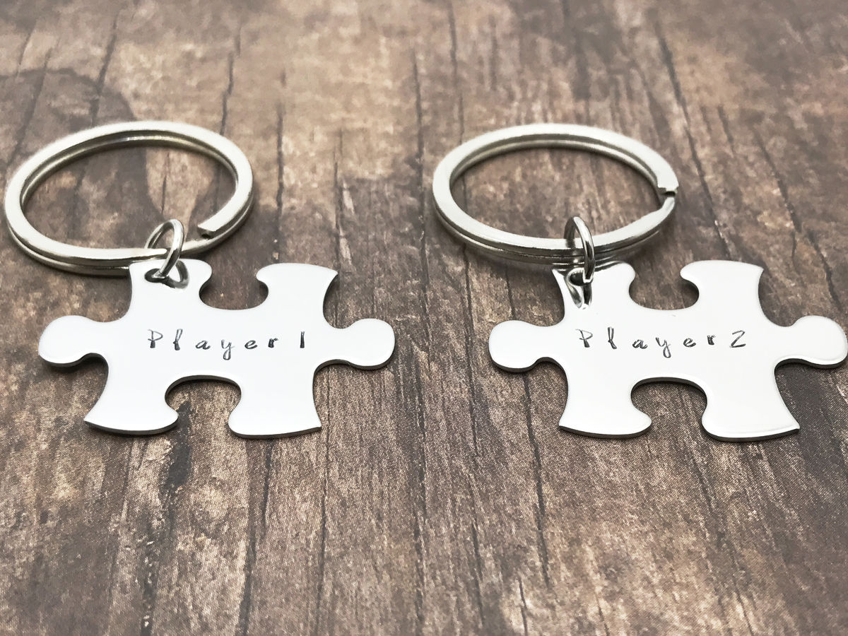 Player 1 Player 2 Keychains for Gamer Couples, Couples Keychains - product images  of
