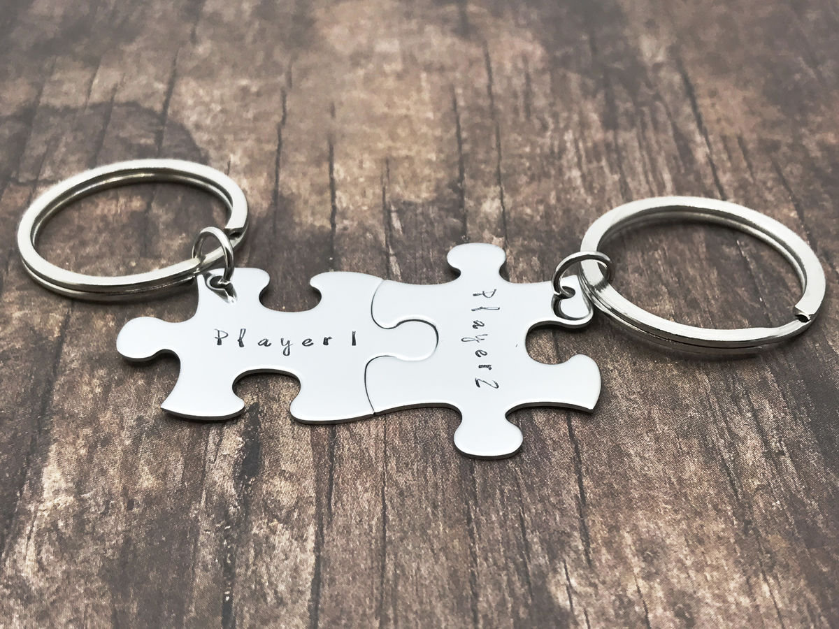 Player 1 Player 2 Keychains for Gamer Couples, Couples Keychains - product image
