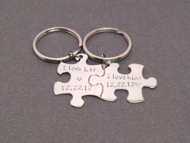 I love Him I love Her Keychains with Custom Date, Puzzle Piece Keychains for Couples - product images  of