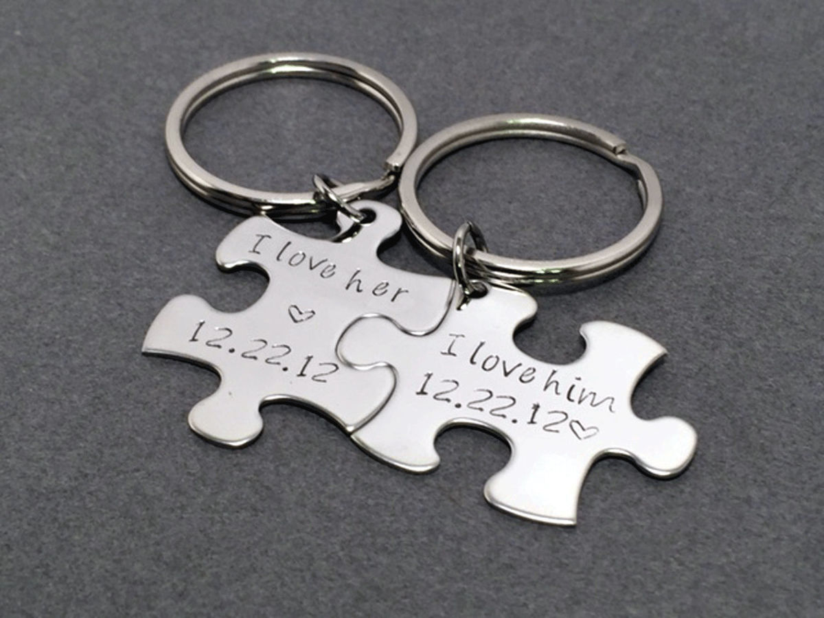 I love Him I love Her Keychains with Custom Date, Puzzle Piece Keychains for Couples - product image