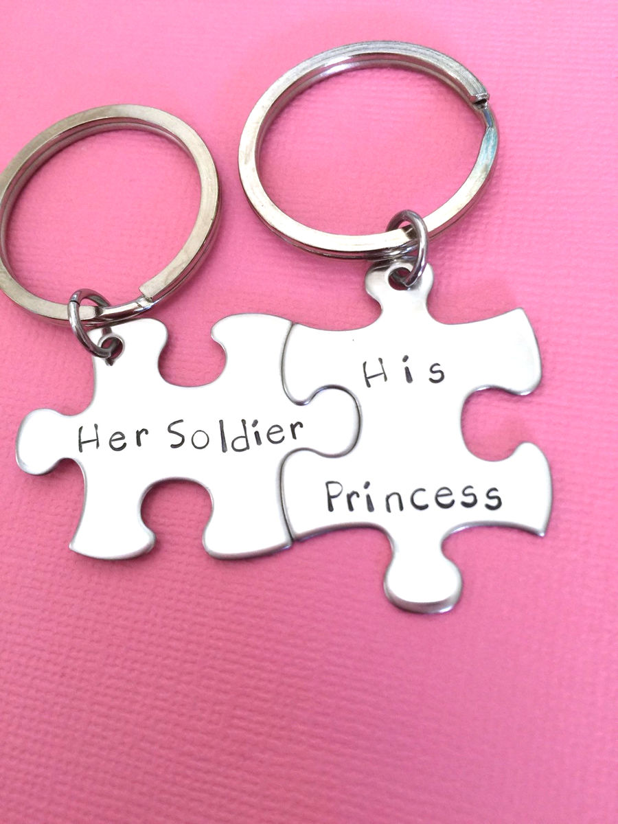 Her Soldier His Princess Keychains, Military Couple Gift - product image