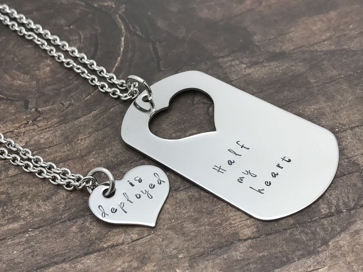 Set of Necklaces for Couples, Half my heart is Deployed Dog Tag Heart cut out necklaces - product image