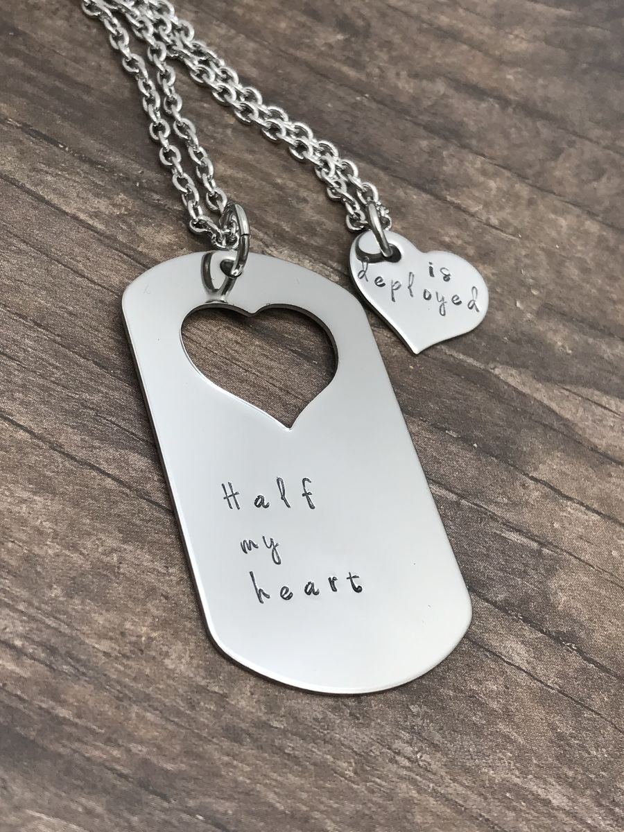 Set of Necklaces for Couples, Half my heart is Deployed Dog Tag Heart cut out necklaces - product images  of