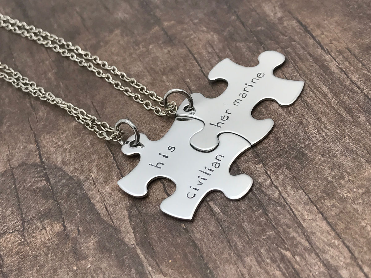 Set of Puzzle Necklaces for Couples, His civilian Her marine, military couple - product image