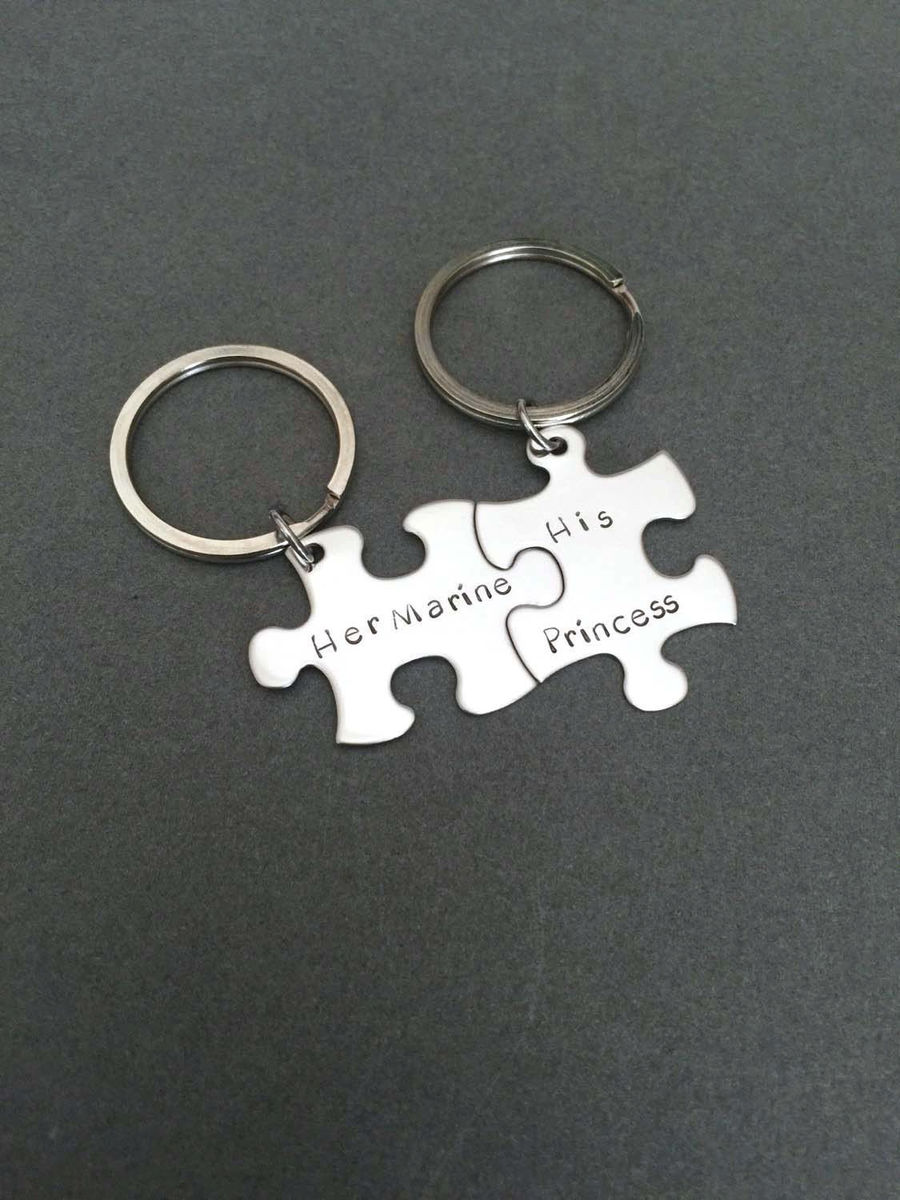 Couples Keychains, His Marine Her Princess, Military Couple - product image