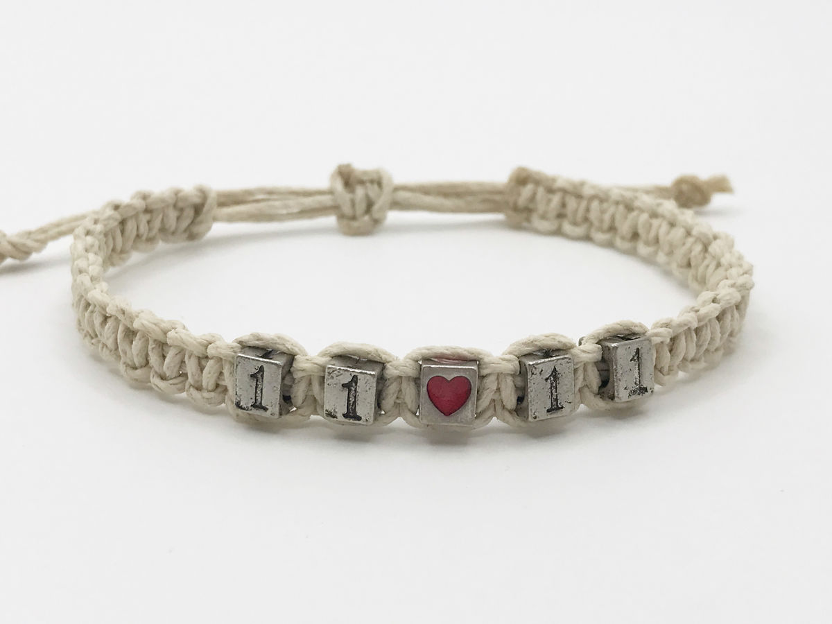 Adjustable Hemp Date bracelet with heart bead - product images  of