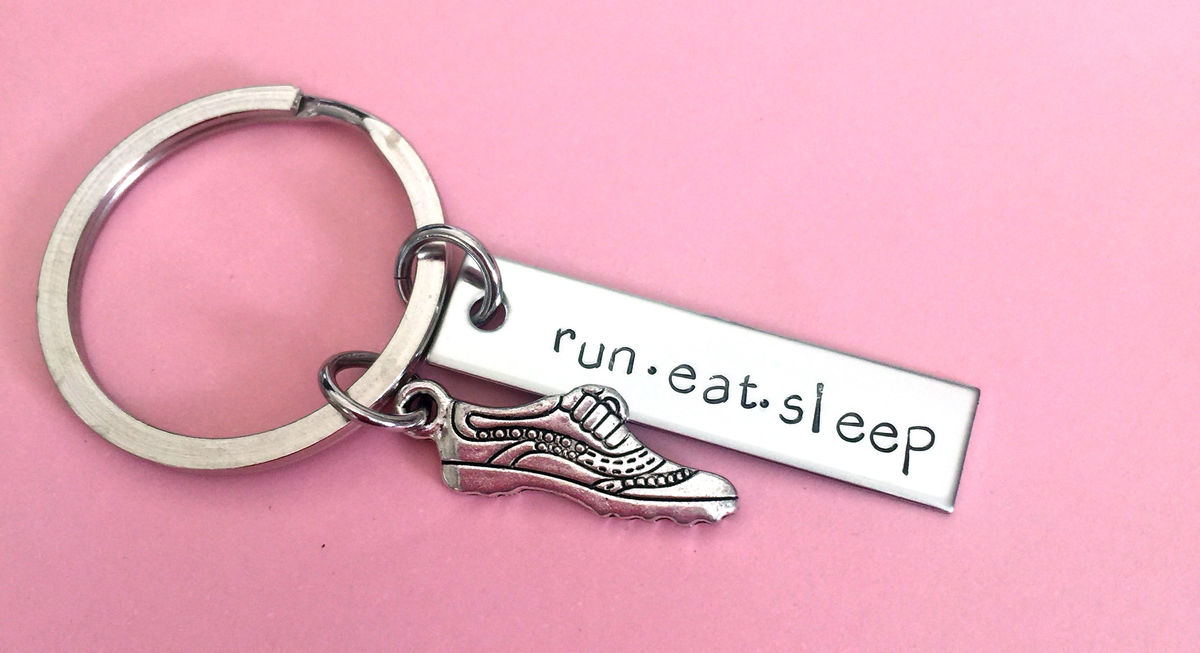Run Eat Sleep, Running Keychain, Fitness Keychain - product images  of