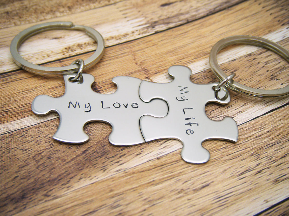 My Love My Life couples keychain, Puzzle piece keychain set for couples - product image