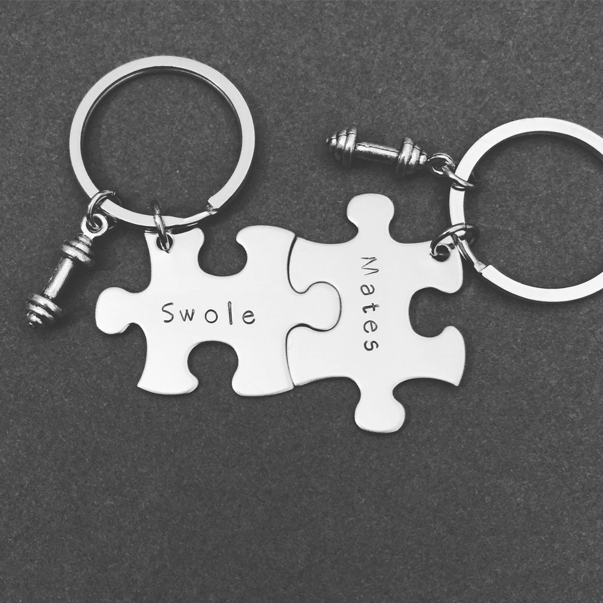 Swole Mates keychains, Puzzle Keychains with dumbell charms - product image