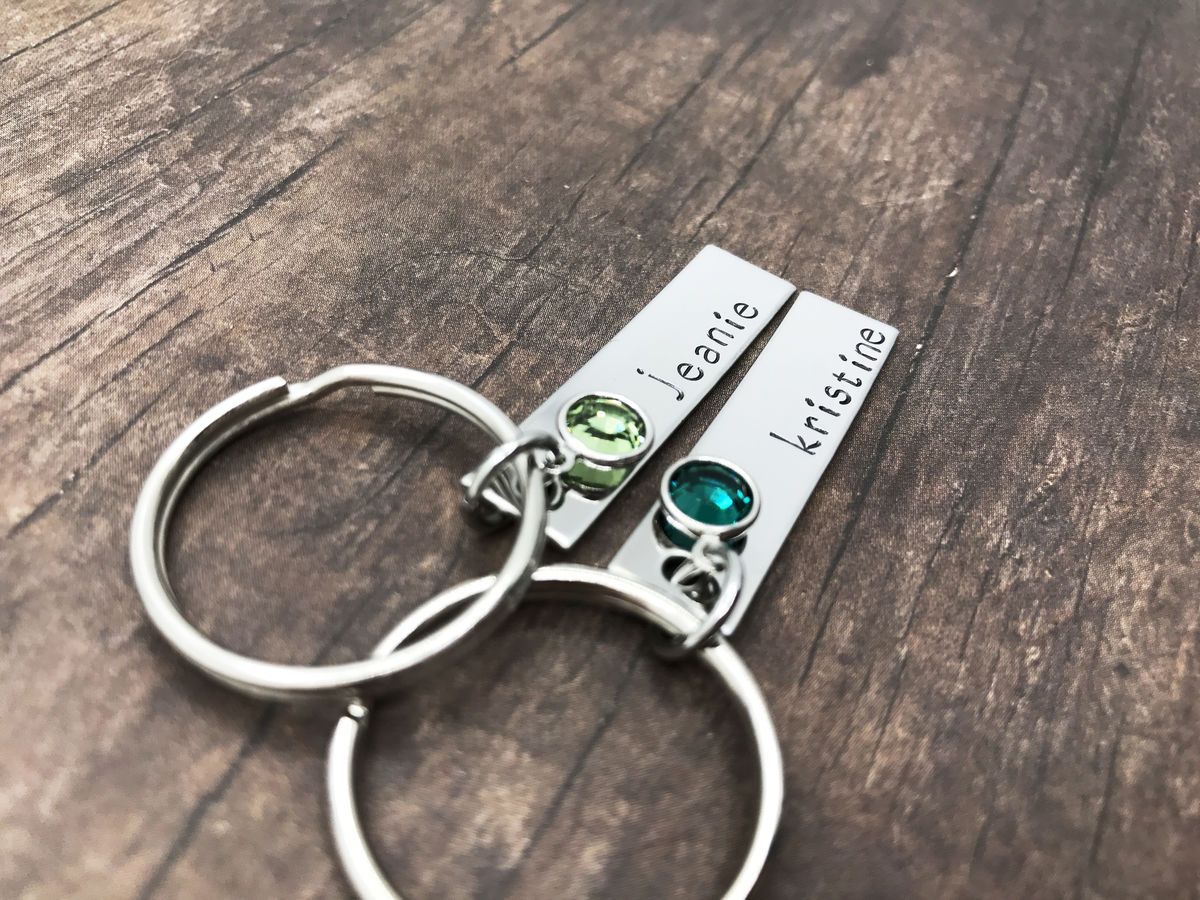 Set of Birthstone Keychains, Custom Name Bar Keychains - product images  of